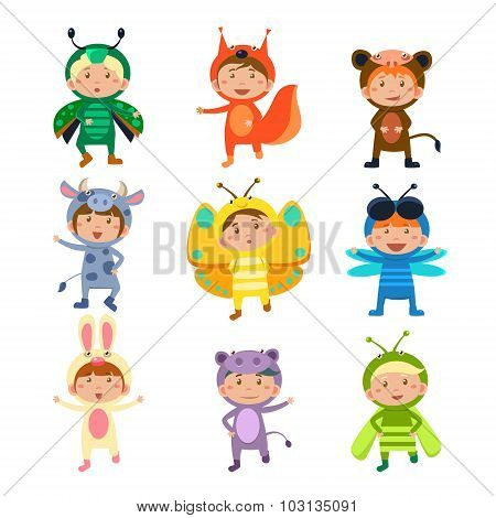Cute Kids Wearing Insect and Animal Costumes
