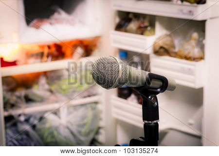 Microphone On The Background Of Blurred Open Refrigerator. Soft Focus .shallow Depth Of Field. Vinta