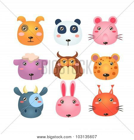 Set of Cartoon Animal Head Icons