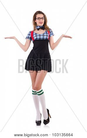 Schoolgirl isolated on the white background