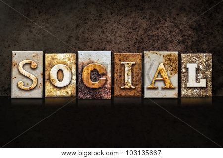 Social Letterpress Concept On Dark Background