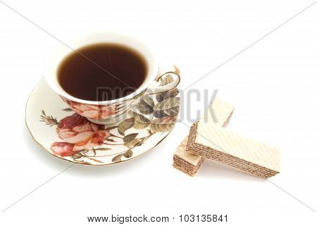 Pair Of Wafers And Cup Of Tea