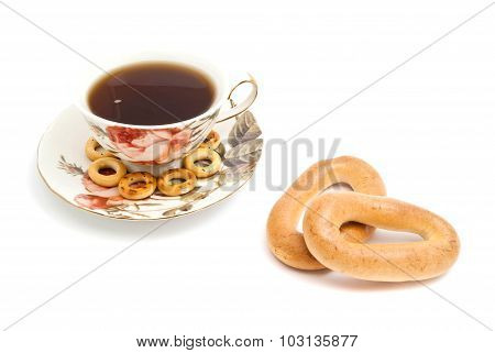 Some Different Bagels And Cup Of Tea