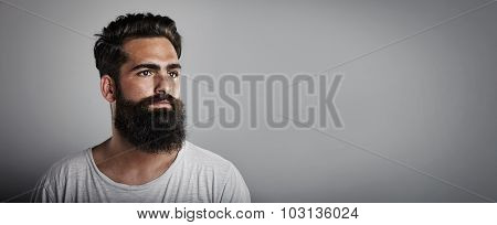 Mock up of long beard and mustache man