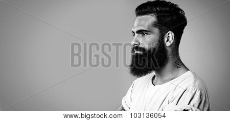 BW mock up of beard and mustache man