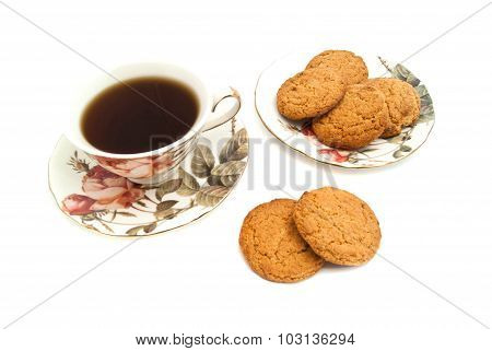 Mug Of Tea And Oatmeal Cookies