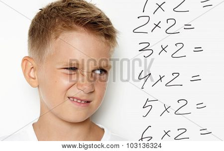 Mock up of young kid thinking about some homework