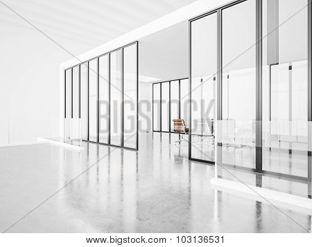 Empty meeting room with panoramic windows. 3d render