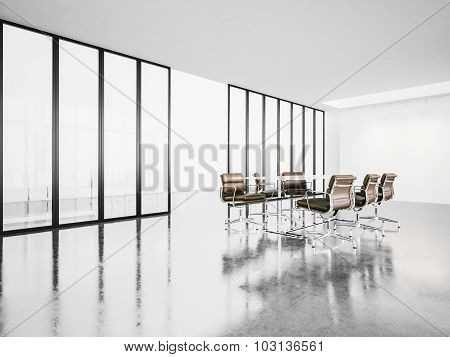 open space meeting room with panoramic windows. 3d render