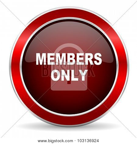 members only red circle glossy web icon, round button with metallic border