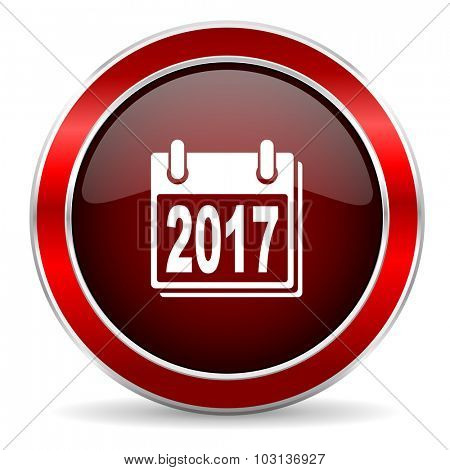 new year 2017 red circle glossy web icon, round button with metallic border
