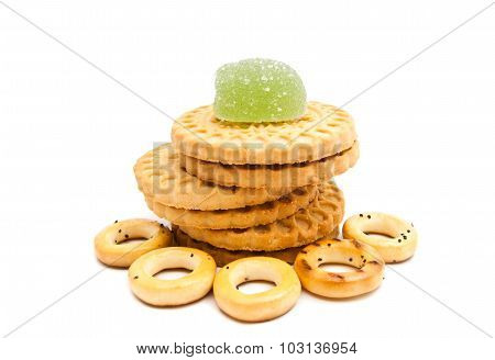 Stack Of Cookies, Bagels And Fruit Candy