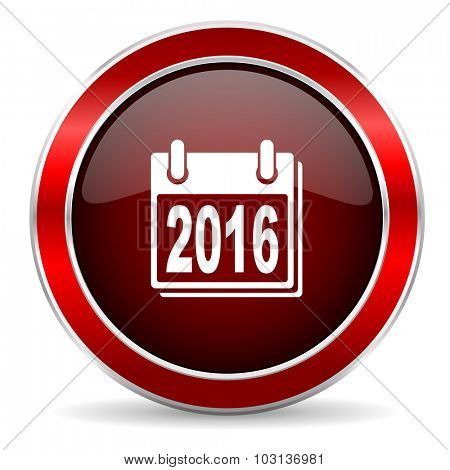 new year 2016 red circle glossy web icon, round button with metallic border