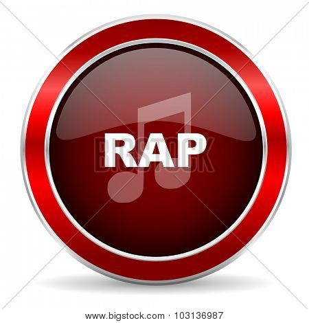 rap music red circle glossy web icon, round button with metallic border
