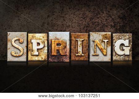 Spring Letterpress Concept On Dark Background
