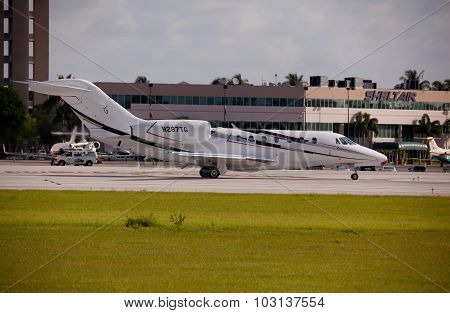 FORT LAUDERDALE, USA - May 24, 2015: Cessna S750 Citation X ready for take off at the Fort Lauderdal