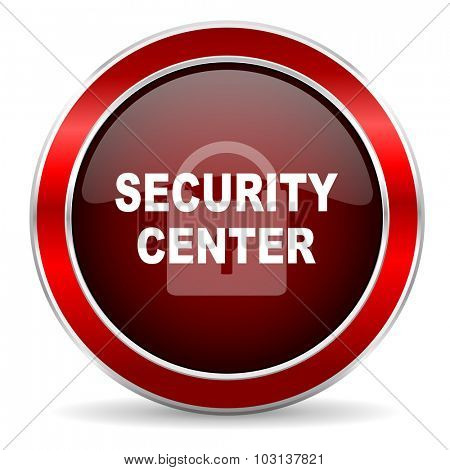 security center red circle glossy web icon, round button with metallic border