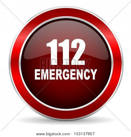 number emergency 112 red circle glossy web icon, round button with metallic border