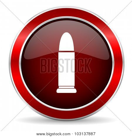 ammunition red circle glossy web icon, round button with metallic border