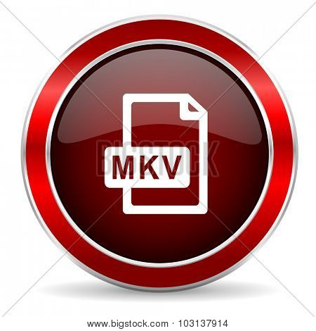 mkv file red circle glossy web icon, round button with metallic border