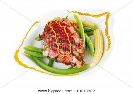 Roasted Beef Served With Mustard