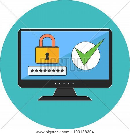 Computer Security Concept. Flat Design.