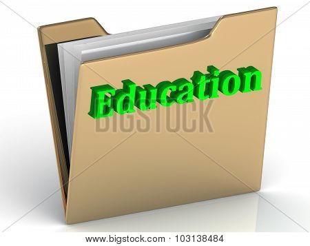 Education - Bright Green Letters On A Folder