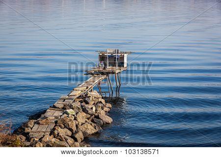 Makeshift Bridge For Fishing, Stone Embankments, River, Fishing