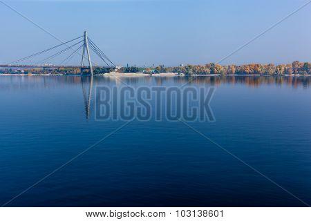 Bridge Across The Dnieper River Suspension Bridge In Kiev On The
