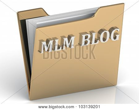 Mlm Blog - Bright Green Letters On A Gold Folder