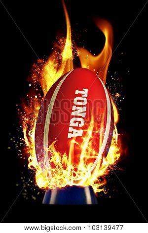 Tonga rugby ball against smoke