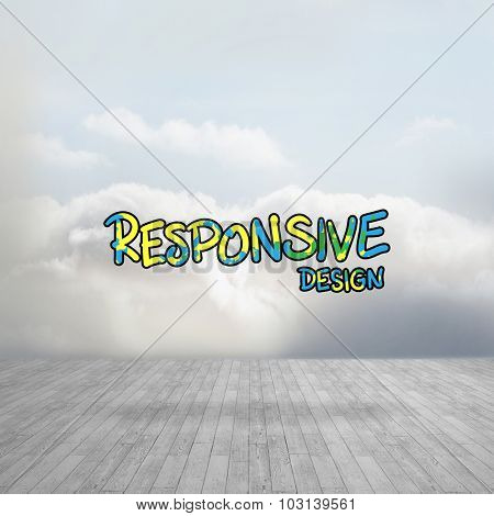 Digitally generated image of responsive design text against clouds in a room