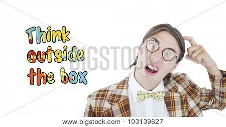 Geeky hipster scratching his head against think outside the box
