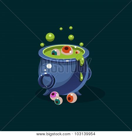 Pot of Green Potion and Eyes Vector Illustration