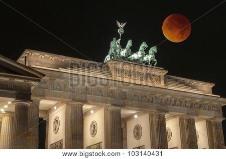 Brandenburg Gate With Bloody Moon, Berlin, Germany