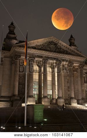 Reichstag With Bloody Moon, Berlin, Germany