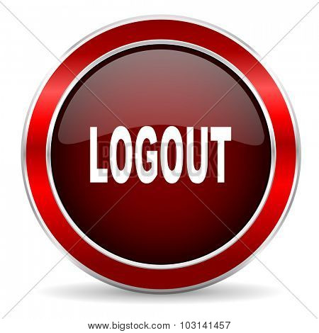 logout red circle glossy web icon, round button with metallic border