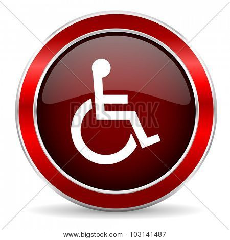 wheelchair red circle glossy web icon, round button with metallic border