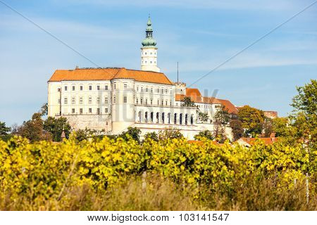 Mikulov with autumnal vineyard, Czech Republic