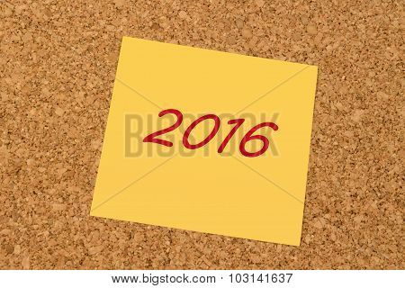 Yellow sticky note - New Year 2016