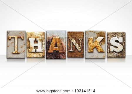Thanks Letterpress Concept Isolated On White