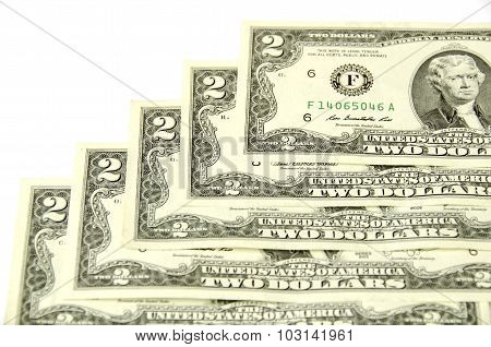 Two Dollars. Five Denominations Together.
