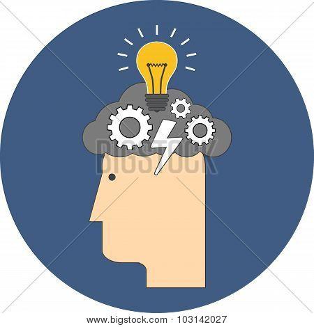 Brainstorming Concept. Flat Design.