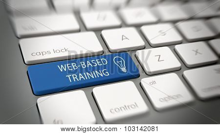 Web-based or online training concept with a large blue enter key on a white computer keyboard with white text - Web-based training - and a light bulb icon for e-learning and ideas. 3d Rendering.