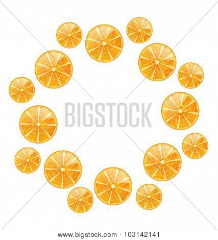 Abstract Round Frame with Sliced Oranges