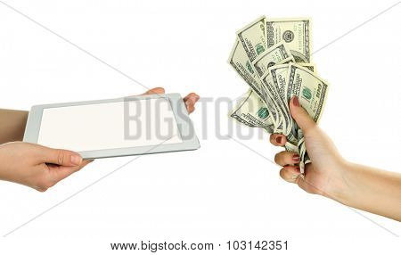 Tablet PC and money on hands- pawnshop concept