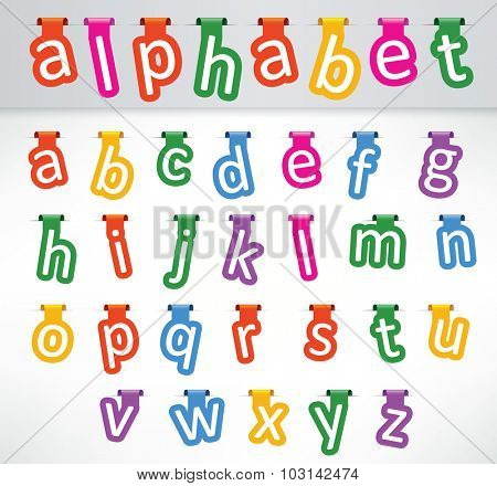 Hanged letters of the alphabets lowercase characters