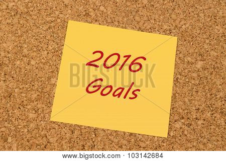 Yellow sticky note  - New Year 2016 Goals
