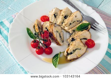 Chicken Fillet Baked With Parsley On A Wooden Table