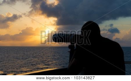 A Seaman Looks Through Binoculars